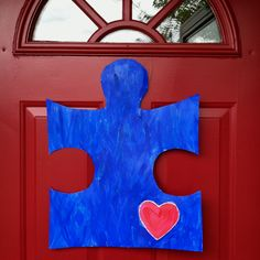 Door Decoration for Autism Awareness. If you would like to purchase one, please… Autism Awareness Crafts, Autism Crafts, Autism Awareness Month, Puzzle Pieces, Social Communication Disorder, Autism Signs, Aspergers, Asd, Autism