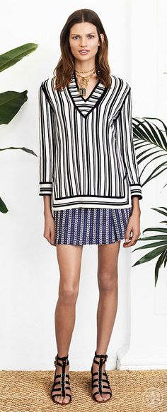 Flatter your figure in an elongating striped tunic | Tory Burch Spring 2014