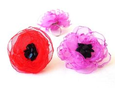Cocktail Ring   Fuchsia and Red Flower by FairytaleFlower on Etsy, $21.00
