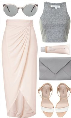 Wear pink maxi as a skirt, with bw high skinny neck crop