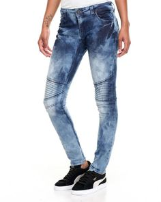 Find Marble Wash Moto Skinny Jean Women's Bottoms from Fashion Lab & more at DrJays. on Drjays.com