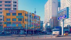 Straßenzug im Hafenviertel von Incheon