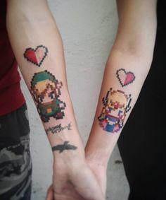Compromiso en 8 bits. | 21 Adorables ideas para hacerte un tatuaje con tu pareja