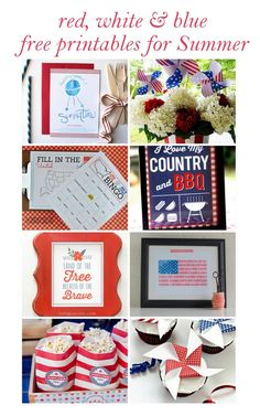 Red White & Blue Free Printables for Summer. Wall art, kid activities and party printables. LivingLocurto.com