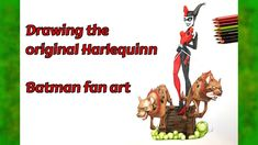 Drawing the original Harlequinn - Batman fan art Batman Fan Art, Harle Quinn, The Originals, Drawings, Videos, Artwork, Youtube, Work Of Art, Auguste Rodin Artwork