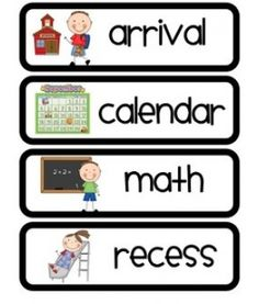 Printable schedule cards with pictures! I printed some beach theme cards, but I like these better because they have good visuals for Kindergarten. Classroom Labels, Kindergarten Classroom, Classroom Ideas, Classroom Layout, Daily Schedule Cards, School Schedule Printable, Classroom Schedule Cards, Class Schedule, School Fun