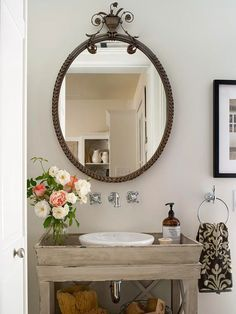 These small bathroom decor and organization hacks and fixes are perfect project ideas for an apartment or a small starter home. Our simple ideas include using frames to make your space look larger, using a pedestal sink to save space and adding in windows for light.