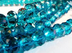 4x6mm TEAL BLUE Faceted Crystal Rondelles. Similar to Swarovski Blue Zircon. These are A GRADE High Quality with a clean color, not foggy and clean