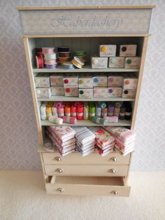 ♡ ♡ Cabinet with drawers beige and blue haberdashery