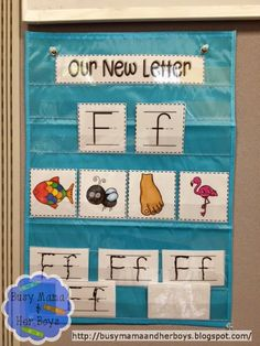 """Great """"Letter of the Week"""" pocket chart from Busy Mama & Her Boys…"""