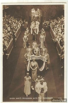 Queen Mary & her granddaughters leave the Abbey after the 1937 Coronation. Queen Mary's Mistress of the Robes has her own page to carry her train.