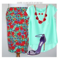 LuLaRoe Floral Cassie Skirt by jillian-carter on Polyvore featuring polyvore, fashion, style, Casadei and clothing