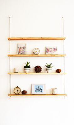 IKEA IVAR shelf turned into hanging rope shelf