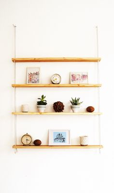 IKEA IVAR shelf turned into hanging rope shelf