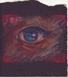 """an eye"" , crayon on sand paper"