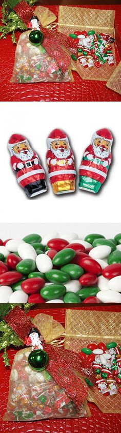 Christmas Gourmet Decorated Gift Bag of Chocolate Santa with Holiday Jordan Almonds - 1 Pound Assorted