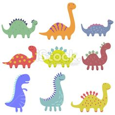 Set of cute dinosaur illustrations Royalty Free Stock Vector Art Illustration