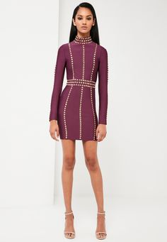 599e374a065 Missguided - Peace Love Purple High Neck Premium Bandage Dress Passion For  Fashion