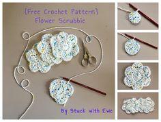 Stuck with Ewe: Free Crochet Pattern: Flower Scrubbie Diy Crochet Flowers, Crochet Flower Headbands, Crochet Flower Patterns, Afghan Crochet Patterns, Pattern Flower, Circle Pattern, Crochet Ideas, Scrubbies Crochet Pattern, Crochet Dishcloths