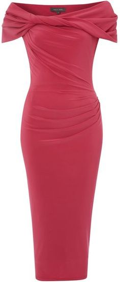 Pied A Terre Slinky Knot Jersey Dress in Red (dark pink) - Lyst