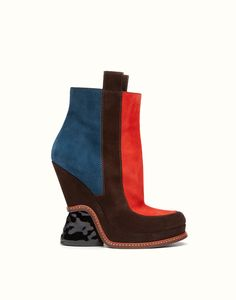 FASHION SHOW BOOTS in multicolor suede with sculpted heel. Ref: 8T50814RMF047K