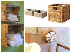 Panier mis à la verticale pour rangement serviettes. Salle de bain IKEA hacks. www.clemaroundthecorner.com