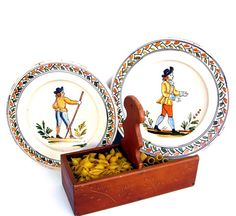 Vintage Quimper Style Bowls French Faience Pottery 1920s