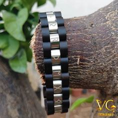 """Honor The Gods"" Runes - Wooden Bracelet - vikingenes - Men's style, accessories, mens fashion trends 2020 Viking Bracelet, Viking Jewelry, Viking Arm Rings, Crystal Jewelry, Men's Jewelry, Jewelry Accessories, Fashion Jewelry, Fantasy Jewelry, Stainless Steel Rings"