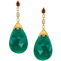 Jade Ruby Diamond Drop Earrings ($4,800) ❤ liked on Polyvore featuring jewelry, earrings, green, dangle earrings, diamond drop earrings, green stud earrings, drop earrings and pave diamond earrings