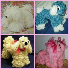 Yarn dogs made on a wire hanger. The top 3 inspired me and I created the bottom pink one for my granddaughter's birthday.
