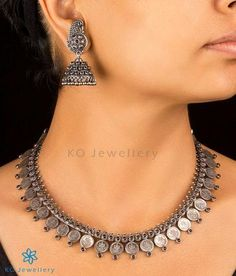 The Anya Silver Necklace-Buy antique silver Jewellery Online - KO Jewellery Silver Choker, Silver Pendant Necklace, Sterling Silver Necklaces, Necklace Set, Silver Ring, Silver Earrings, Drop Earrings, Silver Jewellery Online, Silver Jewellery Indian