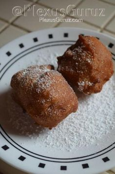 Plexus Apple Fritters  1 cup all-purpose flour 1 pack Plexus 96 2 teaspoons baking powder 1/2 teaspoon cinnamon 1/4 teaspoon nutmeg 1/4 teaspoon salt 1/3 cup light brown sugar 2/3 cup whole milk 1 egg 2 tablespoons melted butter, cooled 2 apples, diced Vegetable or corn oil for frying 1/3 of a cup of confectioner's sugar  Mix flour, 96, baking powder, cinnamon, nutmeg, and salt into a large bowl. Stir in brown sugar. In a small bowl mix together milk, egg, and melted butter ...