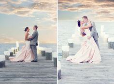 Newlyweds on the pier at Celebrations at the Bay!  Amazing waterfront wedding