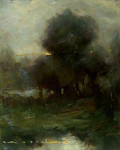 """Angel Angelov-Tonalist Landscape_92A-8""""X10""""-Oil on Board"""