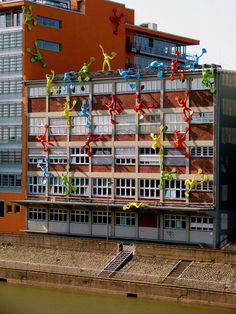 Colorful resin sculptures 'Flossis' in Duesseldorf, Germany