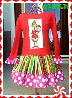 Introducing my NEW line of GRINCH dresses exclusive to BlossomBlueBoutique!!!    They turned out so *CUTE*!! and UNIQUE and super duper