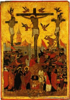 The crucifixion of the Lord. Ancient icons of Jesus Christ