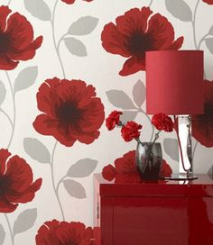 Gray and White Patterns Wallpapers | Gray-black-red wallpaper, red poppy flower pattern, wallpaper with ...