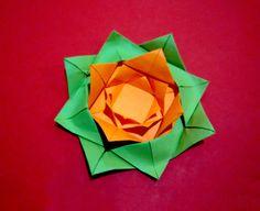 Easy paper flower. Origami rose - flower.