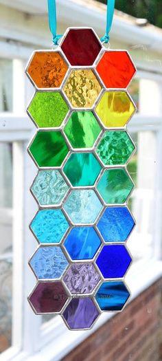 Long Rainbow Bee Honeycomb Stained Glass Art Suncatcher Handmade - The Glass Sea