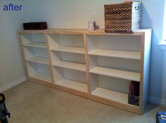 bookcases complete with trim.  Great #tutorial for #billy #bookcases
