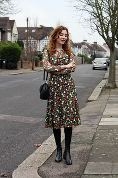 Summer Read - Dezzal Floral Embroidered Mesh Dress, Vagabond Marja Ankle Boots, Zara Convertible Bag - Floral Embroidered Dress