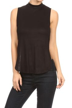 Sexy Solid Turtleneck Side Cutout Split & Keyhole Back Stretchy Crop Shirt Top Size Type: Junior / Young Contemporary Special Style: Solid cut out sides sle