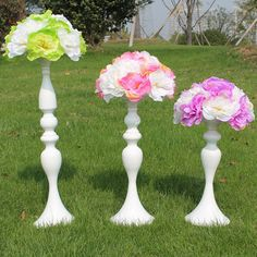 White Metal Candle Holders 50cm/20'' Stand Flowers Vase Candlestick As Road Lead Candelabra Centre Pieces Wedding Decoration 03