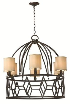 World Imports 3516-42 Decatur 6 Light Iron Chandelier with Shades, Rust