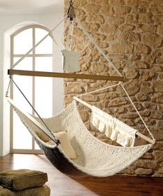 hammock for your home by Traumschwinger Diy Hammock, Hammock Swing, Indoor Hammock Chair, Hammock Ideas, Swinging Chair, Chair Swing, Diy Hanging, New Room, Cozy House