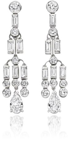 A pair of Art Deco style diamond earpendants  of geometric design, each rub-over set old brilliant-cut diamond suspending further brilliant-cut and similarly-set baguette-cut diamonds, terminating in a pear-cut diamond drop, the diamonds estimated to weigh approximately 5.50ct., length 4.5cm.