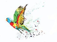 Parrot Print by SplatterInkArt on Etsy