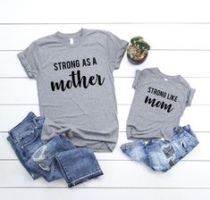 20073711 Set of 2 - Strong as a Mother, Strong like Mom Mommy and me matching outfit  shirts