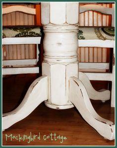 Mockingbird Cottage: Refinished Kitchen Table and Chairs Refurbished Kitchen Tables, Refinishing Kitchen Tables, Furniture Projects, Diy Furniture, Furniture Refinishing, Refinished Furniture, Whitewash Furniture, Diy Projects To Try, Home Projects